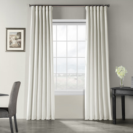 Mist Grey Vintage Textured Faux Dupioni Silk Curtain