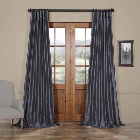 Loyalty Blue Vintage Textured Faux Dupioni Silk Curtain