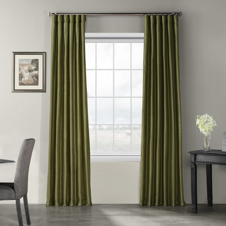Oregano Green Vintage Textured Faux Dupioni Silk Curtain