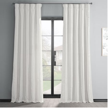 Off White Vintage Textured Faux Dupioni Silk Curtain