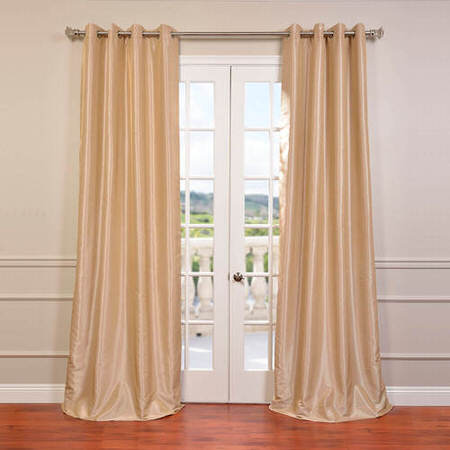 Almond Grommet Blackout Vintage Textured Faux Dupioni Silk Curtain