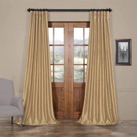 Almond Vintage Textured Faux Dupioni Silk Curtain