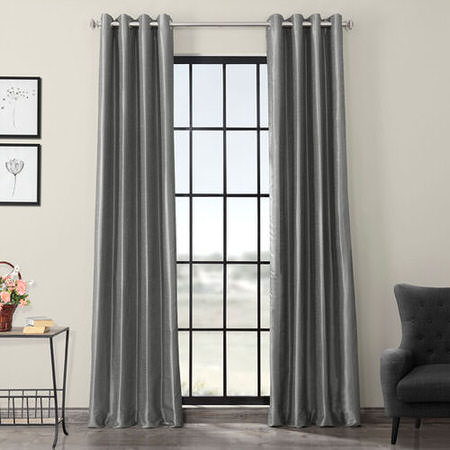 Storm Grey Blackout Vintage Textured Dupioni Silk Curtain
