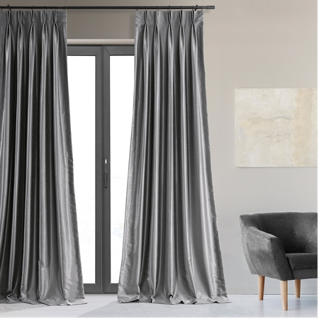 Storm Grey Blackout Vintage Textured Faux Dupioni Pleated Curtain
