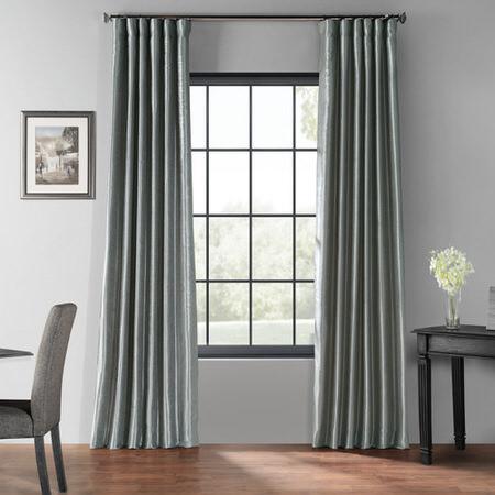 Storm Grey Blackout Vintage Textured Faux Dupioni Curtain