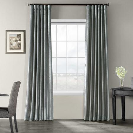 Storm Grey Textured Vintage Faux Dupioni Silk Curtain