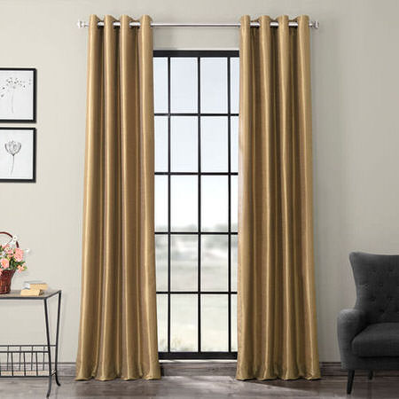 Flax Gold Grommet Blackout Vintage Textured Faux Dupioni Silk Curtain