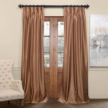 Flax Gold Blackout Vintage Textured Faux Dupioni Pleated Curtain