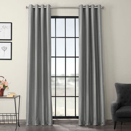 Silver Grommet Blackout Vintage Textured Faux Dupioni Silk Curtain