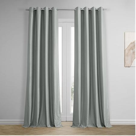Silver Grommet Blackout Vintage Textured Faux Dupioni Silk Curtain