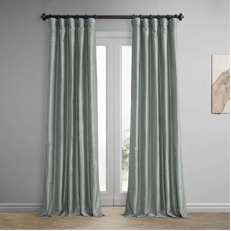 Silver Blackout Vintage Textured Faux Dupioni Curtain