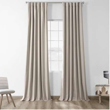 Hazelwood Beige Solid Cotton Blackout Curtain