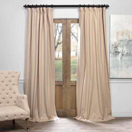 Rugged Tan Solid Cotton Blackout Curtain