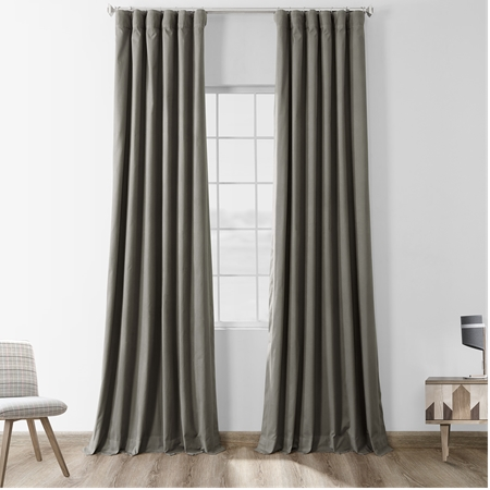 Millstone Gray Solid Cotton Blackout Curtain