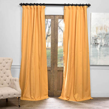 Spicy Mustard Solid Cotton Blackout Curtain