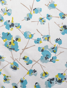 Dogwood Teal Printed Cotton Swatch