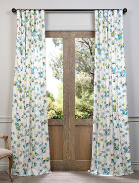 Dogwood Teal Printed Cotton Curtain