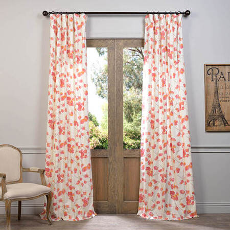 Dogwood Rose Printed Cotton Curtain