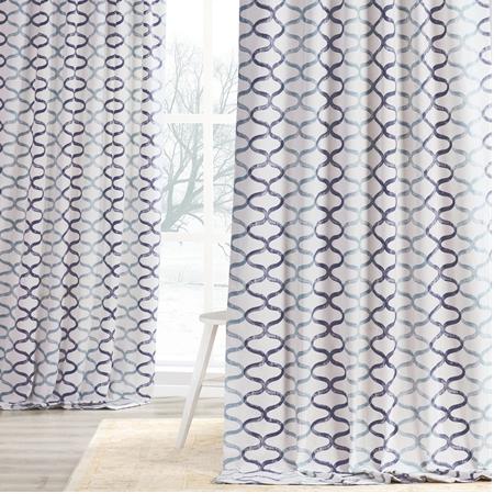 Illusions Blue Printed Cotton Curtain