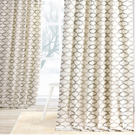 Illusions Silver Grey Printed Cotton Curtain