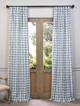Ashby Blue Printed Cotton Curtain