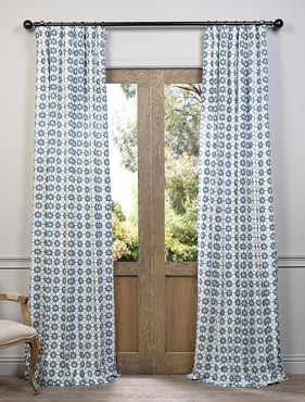 Ashby Blue Printed Cotton Curtain