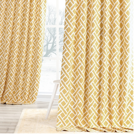 martinique yellow printed cotton curtain - Rust Color Curtains