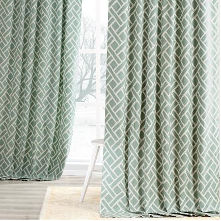 Martinique Aqua Printed Cotton Curtain