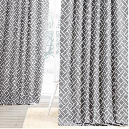 Martinique Grey Printed Cotton Curtain
