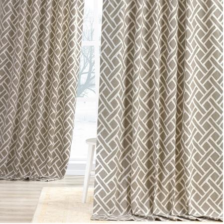 Martinique Taupe Printed Cotton Curtain
