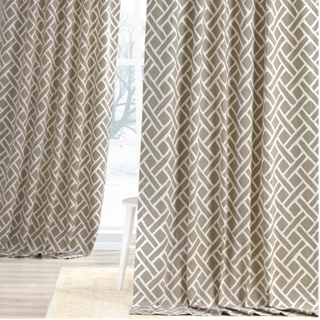 Martinique Taupe Printed Cotton Curtain