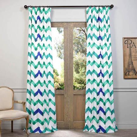 Canvas Blues Printed Cotton Curtain