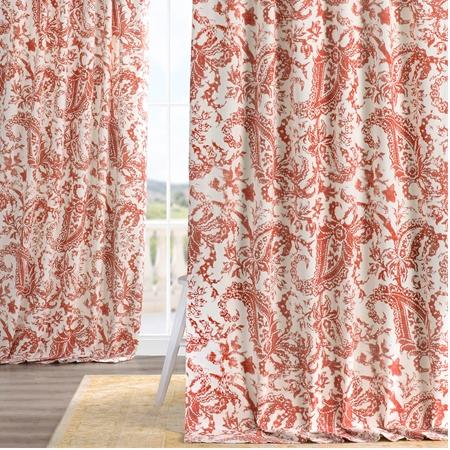 Edina Rust Printed Cotton Curtain