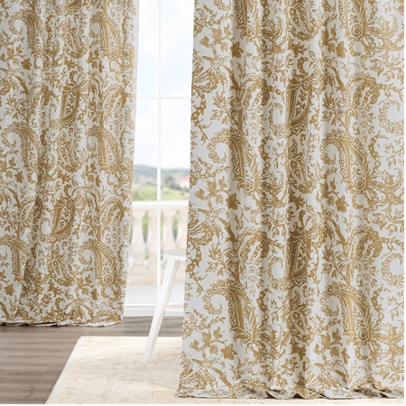 Edina Yellow Printed Cotton Curtain