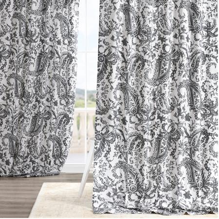 Edina Grey Printed Cotton Curtain