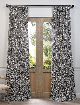 Zambia Ebony Printed Cotton Curtain