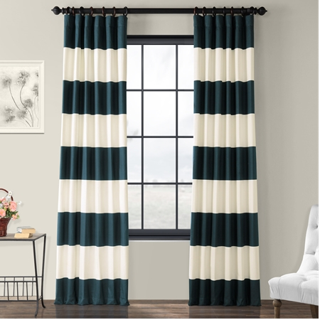 Dusk Blue & Off White Horizontal Stripe Curtain