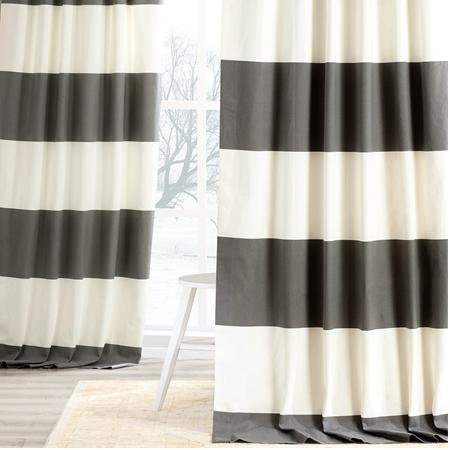 Slate Grey & Off White Horizontal Stripe Curtain