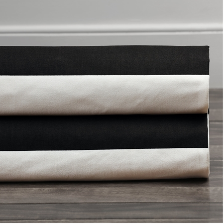 Onyx Black & Off  White Horizontal Stripe Swatch
