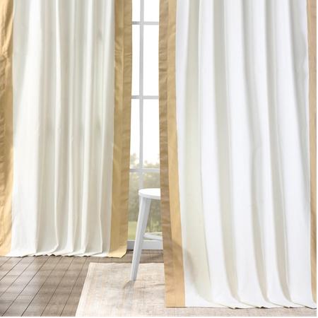 Fresh Popcorn and Shaker Beige Vertical Colorblock Panama Curtain