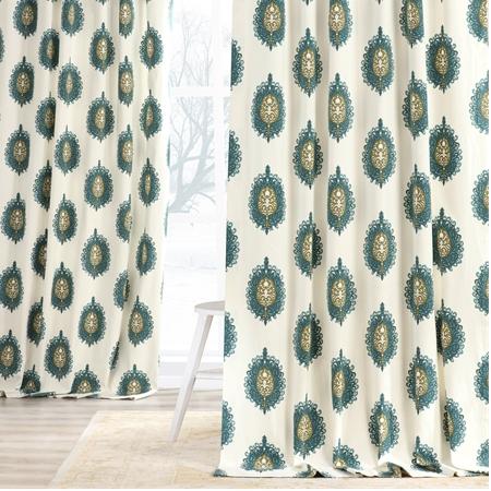 Mayan Teal Printed Cotton Curtain