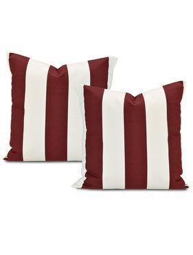 Cabana Burgundy Printed Cotton Cushion Cover (Pair)
