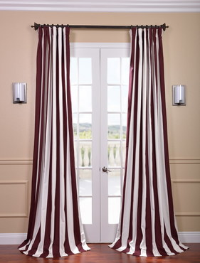 Cabana Burgundy Printed Cotton Curtain
