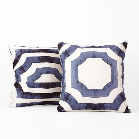 Mecca Blue Printed Cotton Cushion Cover- PAIR