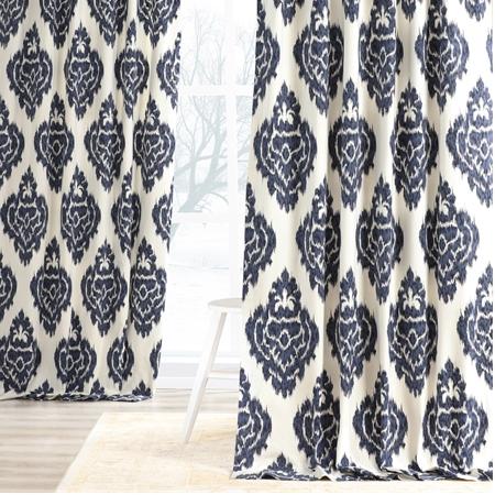 Ikat Blue Printed Cotton Curtain