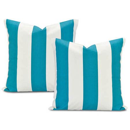 Cabana Teal Printed Cotton Cushion Cover (Pair)