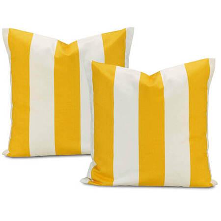 Cabana Yellow Printed Cotton Cushion Cover (Pair)