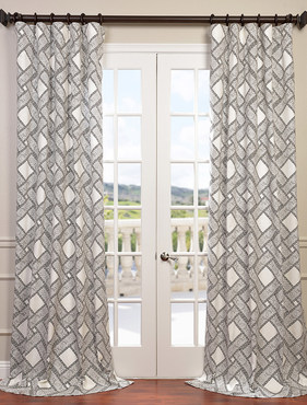 Pavers Gray Printed Cotton Twill Curtain