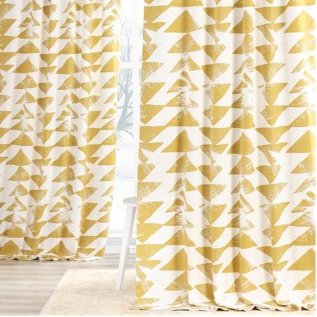 Triad Gold Printed Cotton Twill Curtain