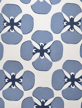 Clover Blue Printed Cotton Twill Swatch